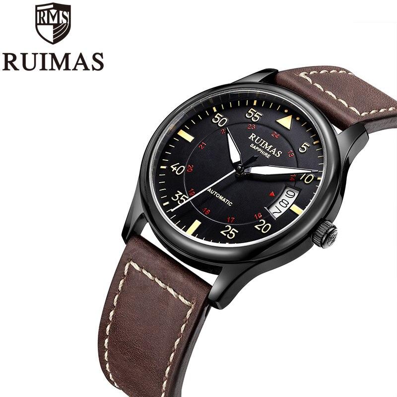 Ruimas التلقائي الميكانيكية ووتش رجل الفاخرة الأعمال الكلاسيكية Miyota أعلى العلامة التجارية مضيئة الذكور الساعات الرجعية ساعة اليد Relogio-في الساعات الميكانيكية من ساعات اليد على  مجموعة 2