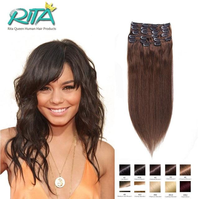 Dark Brown 4 100 Human Hair Distributor 7 10pcsset Clip In Hair