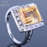 HELON Litego 14 K White Gold 100% Prawdziwa Cytryn 11x9mm Poduszka Pave Naturalnych Diamentów Kobiet Biżuteria Zaręczynowy ślub Grzywny Pierścień