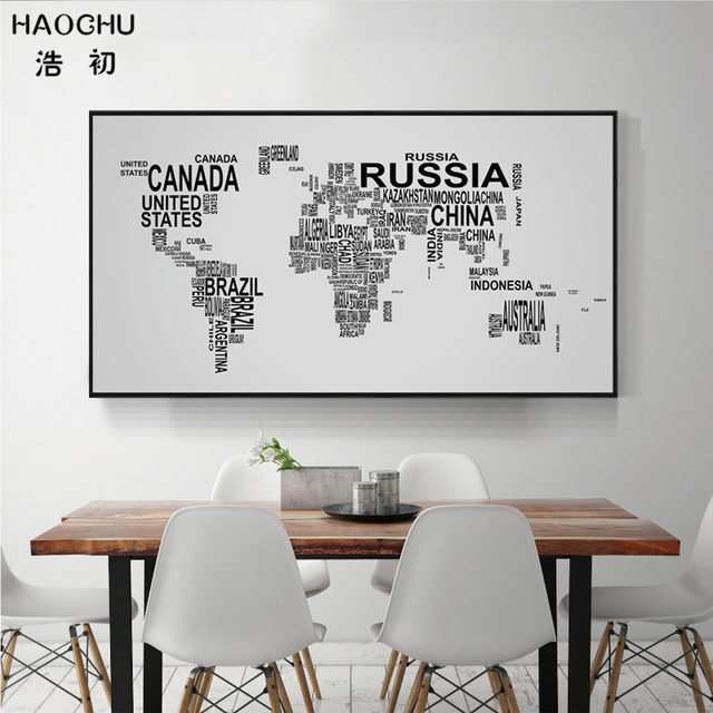 US $8.7 30% OFF|HAOCHU Pädagogisches Karte Der Welt Modernen Abstrakten  Schwarz Weiß Brief Print Leinwand Gemälde Kinderzimmer Studie Amt Decor in  ...