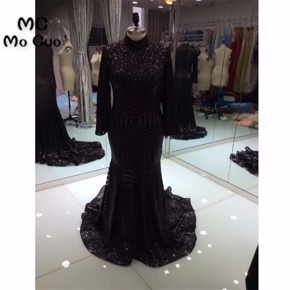 2018 Navy Blue   Prom     Dresses   Long 100% Real Sample Sequined Mermaid Long Sleeves Evening   dress   Pink Formal Long Women   Prom   Gown