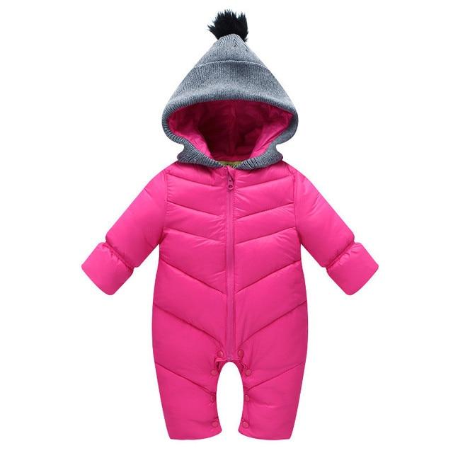 冬のオーバーオールのための男の子新生児赤ちゃんフード付きロンパース厚みの暖かいジャンプスーツパッド入り幼児赤ちゃん赤防風服cl1003