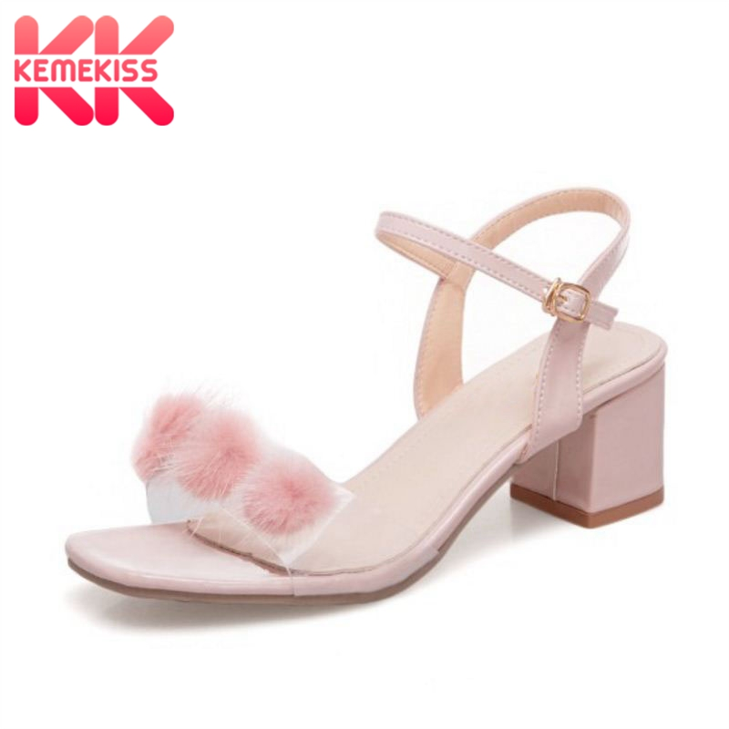 KemeKiss Women High Heel Sandal Open Toe Fur Buckle Thick Heel Sandals Sweet Korean Shoes Party Office Footwear Size 35-39 kemekiss women slippers clip toe flat heel crystal shine women summer shoes fashion korean holidays footwear size 36 40