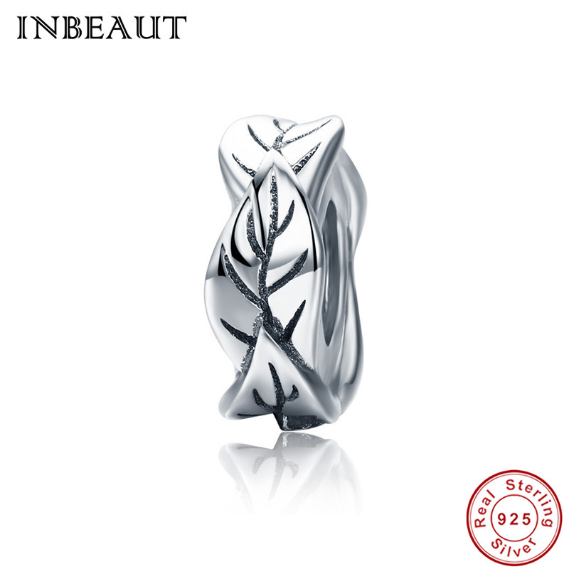 INBEAUT Chain Necklace Real 925 Sterling Silver Tree Leaves Carved Round Beads fit Pandora Charm Bracelet for Women DIY Jewelry