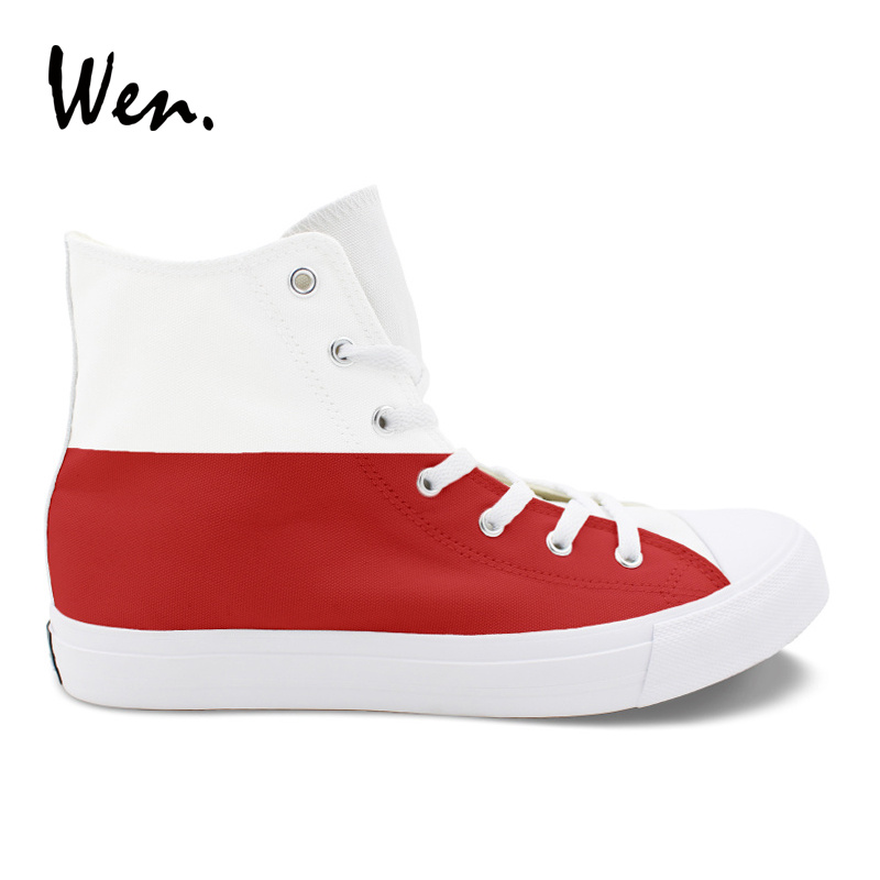 Wen Canvas Shoes Hand Painted Poland Flag Design White Red Stripes Sneakers Men Women Vulcanize Shoes Cross Straps Plimsolls сланцы ea7 ea7 ea002awrap13