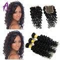 7А Девственные Волосы Бразильский Глубокая Волна С Закрытием Дешевые Человеческих Волос Связки Бразильского Виргинские Волос С Закрытием Бразильский Глубокий Вьющиеся