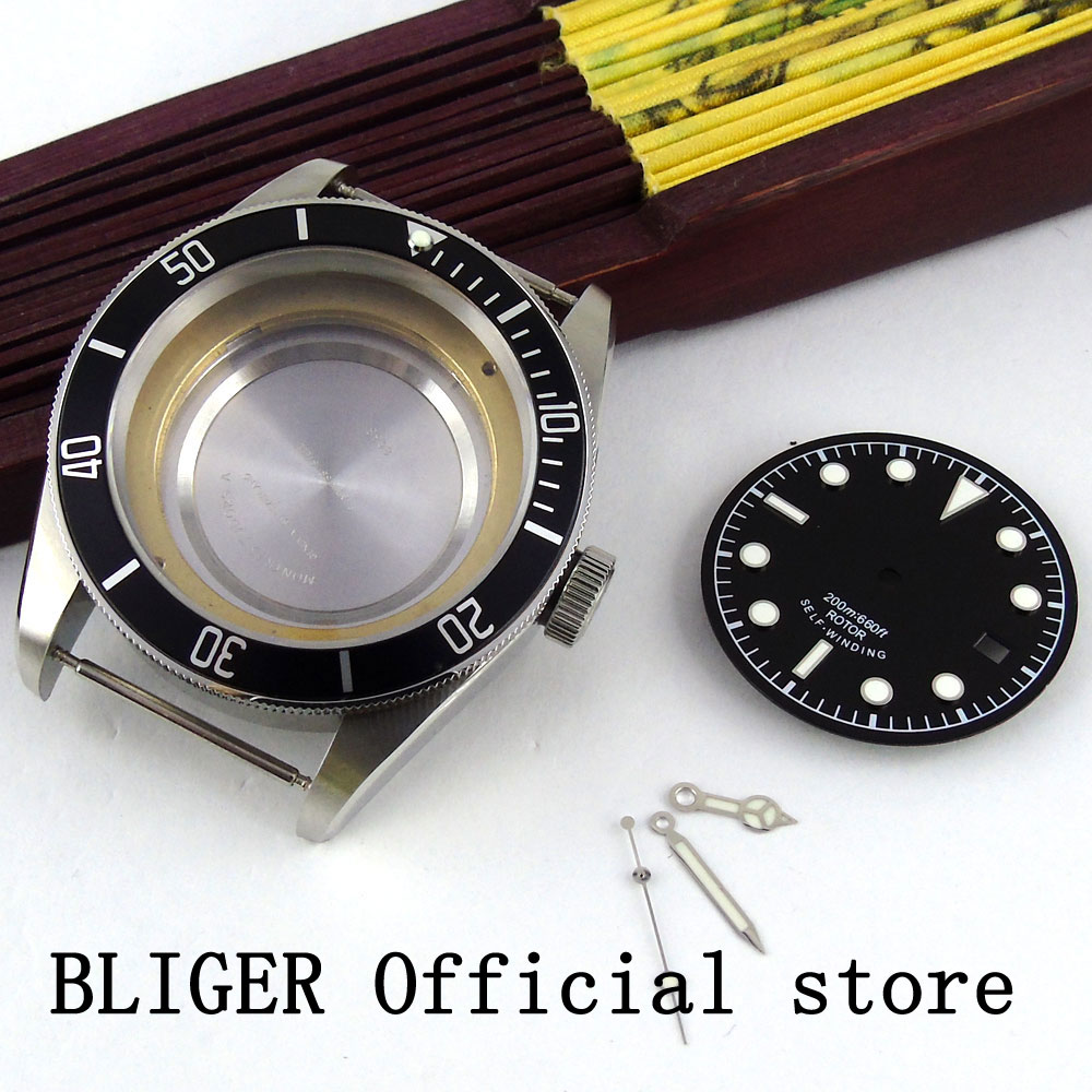 Sapphire Crystal BLIGER 41MM Black Bezel Watch Case Fit For MIYOTA 8215 8205 Automatic Movement+Watch Dial+Luminous HandSapphire Crystal BLIGER 41MM Black Bezel Watch Case Fit For MIYOTA 8215 8205 Automatic Movement+Watch Dial+Luminous Hand