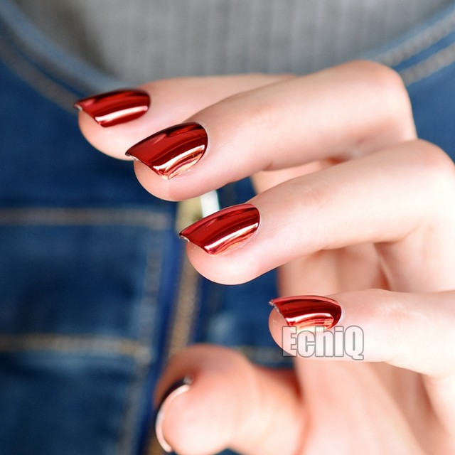 24pcs Dark Red Metal Plate Fake Nails Reflective Mirror Punk Style Metallic Short Square False Nail For Party Or Gift