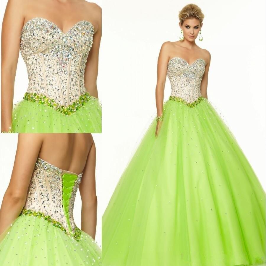 Vente chaude mode robes de Quinceanera robe de bal sans manches longueur de plancher de perles de cristal Lace - up retour Organza Quinceanera robes
