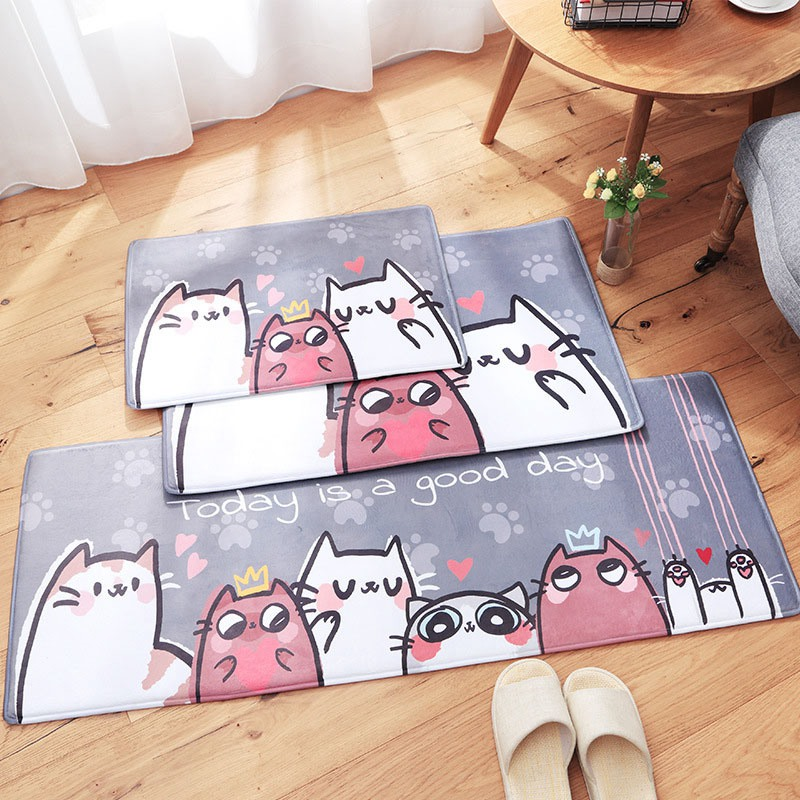 Floor Mat Anti-slip Kitchen Carpets Cat Carpet Door Mat Living Room Kitchen Bedroom Mats Home Mat Tapete Flannel Cartoon Doormat