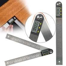 300mm 12 polegada digital transferidor ângulo régua 200mm 8 polegada ângulo localizador medidor plástico/aço inoxidável 360 goniômetro inclinômetro