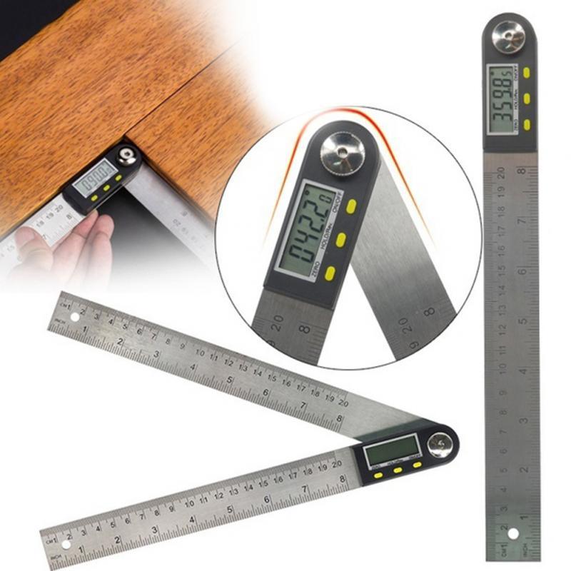 Règle dangle numérique de 300mm de 12 pouces, goniomètre à 200 degrés en acier inoxydable, détecteur dangle de 360mm de 8 pouces