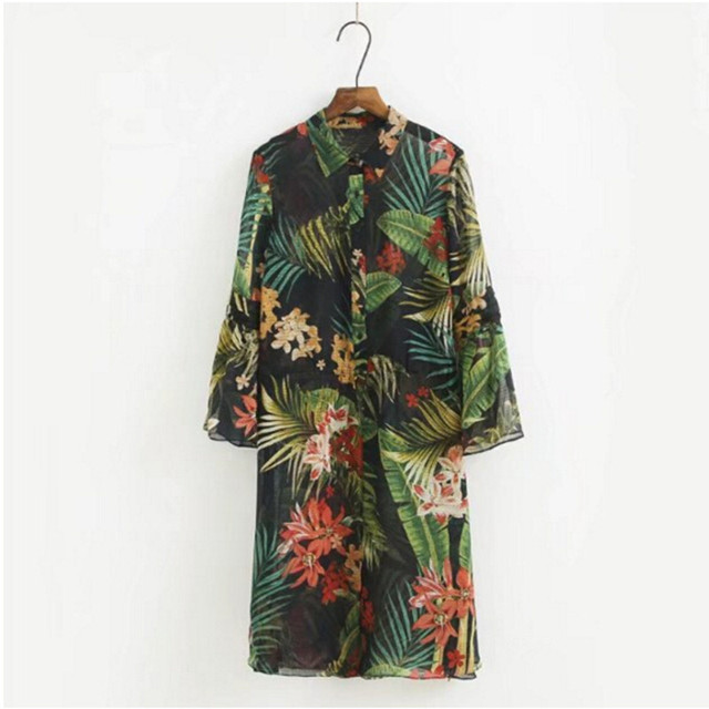 vintage vert for t tropicale fleur imprimer kimono chemise 2017 femme long manches longues l che. Black Bedroom Furniture Sets. Home Design Ideas