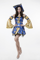 Halloween Party Pirate Costumes Adult Women Blue Gold Noble Caribbean Pirate Costume Fancy Dress Cosplay Clothing