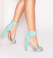 Summer Pink Mint Green Nude Faux Suede Women Pumps Buckle Strap Block Heels Women Shoes Sexy
