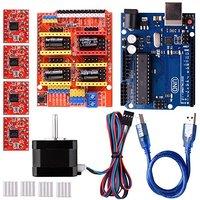 3D printer diy kit with Stepper Motor,CNC Shield V3.0 + UNO R3 + 4 PCS A4988 Driver + Nema 17 Stepping Motor for arduino