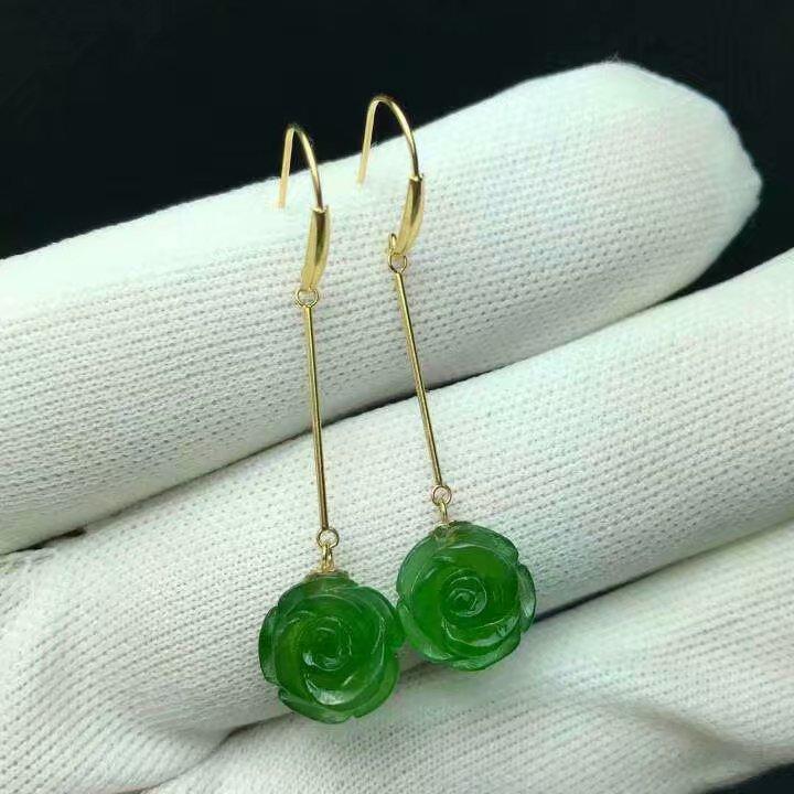 SHILOVEM 18k yellow gold Natural Jasper drop earring  lassic fine Jewelry women wedding women  wholesale 10mm   myme1010888by