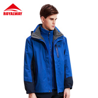ROYALWAY Hiking Camping Jackets Men Windstopper Hunting Clothes Waterproof Windproof 3 in 1 Trekking Jackets#RFOM4392F