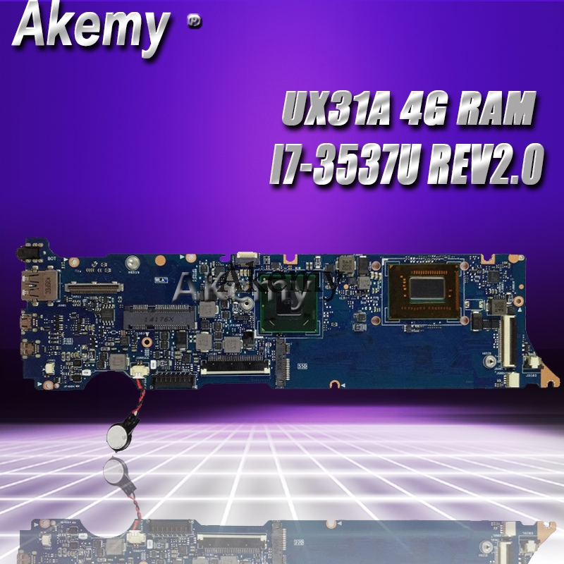 Akemy UX31A2 Laptop Motherboard For ASUS UX31A UX31 Test Original Mainboard 4G RAM I7-3537U REV2.0