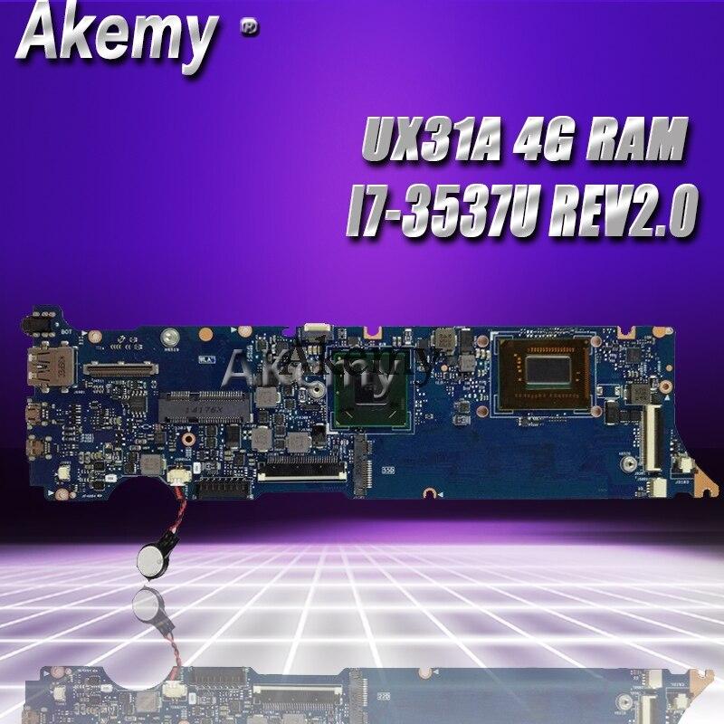 Akemy UX31A2 Laptop Motherboard For ASUS UX31A UX31 Test Original Mainboard 4G RAM I7-3537U REV2.0