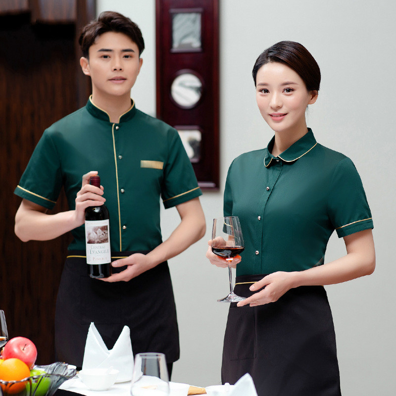 Hotel Overalls Summer Hot Pot Chinese Restaurant Teahouse Waiter Uniforms Coffee Shop Short Sleeve Breathable Chef Work Wear