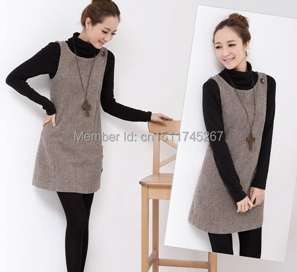 Hot Sale Women Girls Autumn Winter Wool Sleeveless Dress Slim ...