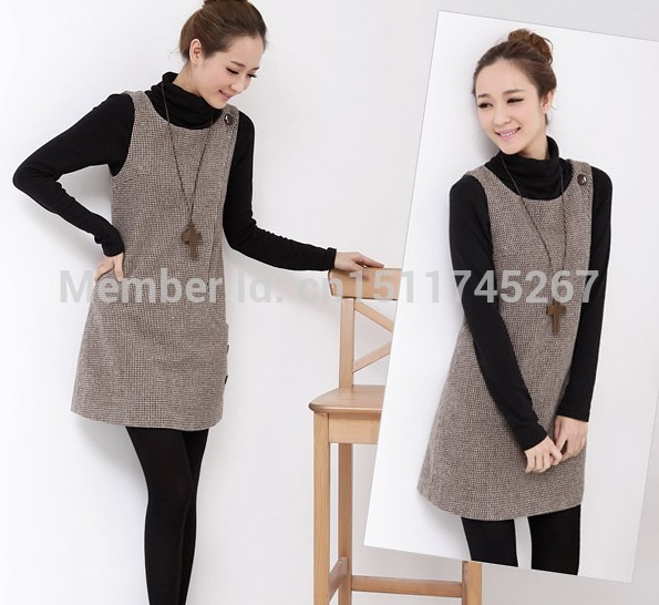 f9296712fa7 Hot Sale Women Girls Autumn Winter Wool Sleeveless Dress Slim Basic  Houndstooth Plaid Jumper Dress Women Jumpers With Pockets