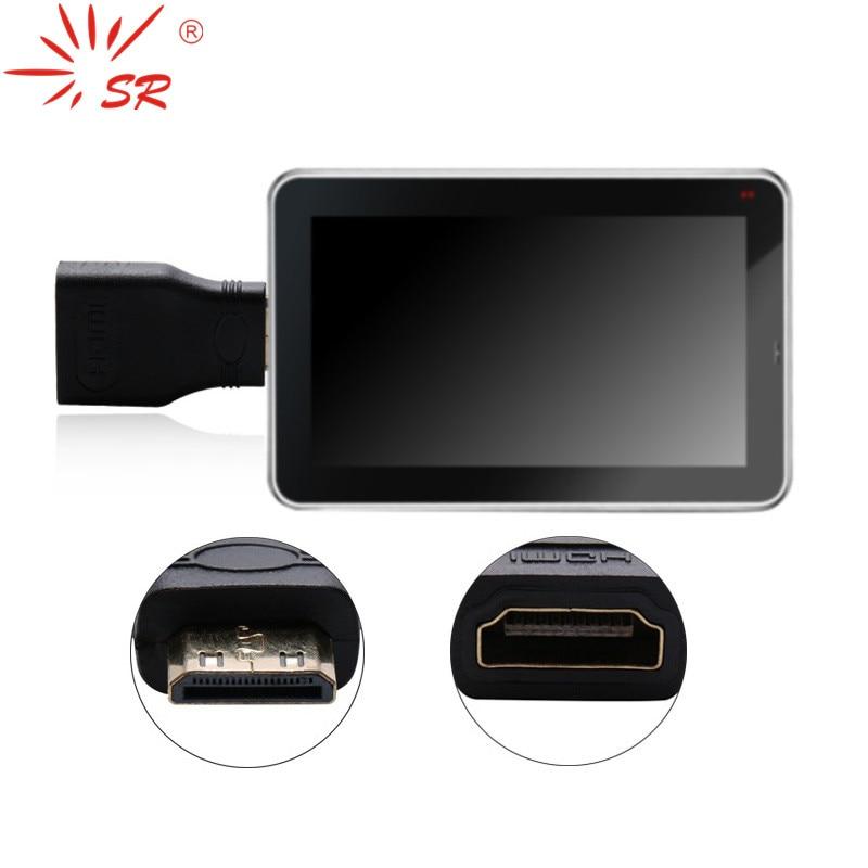 SR doré mini HDMI mâle vers HDMI femelle adaptateur adaptateur pour téléphone portable tablette portable appareil photo numérique