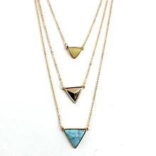 Triangle Pendant Necklace Women Gold Body Chain 2017 Multilayer Stone Long Necklaces Pendants Female Punk Jewelry Sne160054