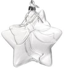 Frete Grátis Para Casa e Jardim Ornamento Ornamentos Cubo De Vidro Decoração 100*90mm Claro-Estrela Com um Arco Bonito, 100/Pacote