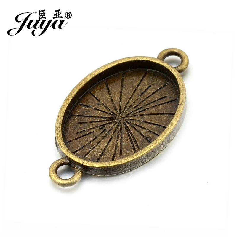JUYA Cabochon Base Setting 6pcs Suit 18x25mm Oval Cameo High Quality Connector for DIY Jewelry Findings Making Fittings AD0105