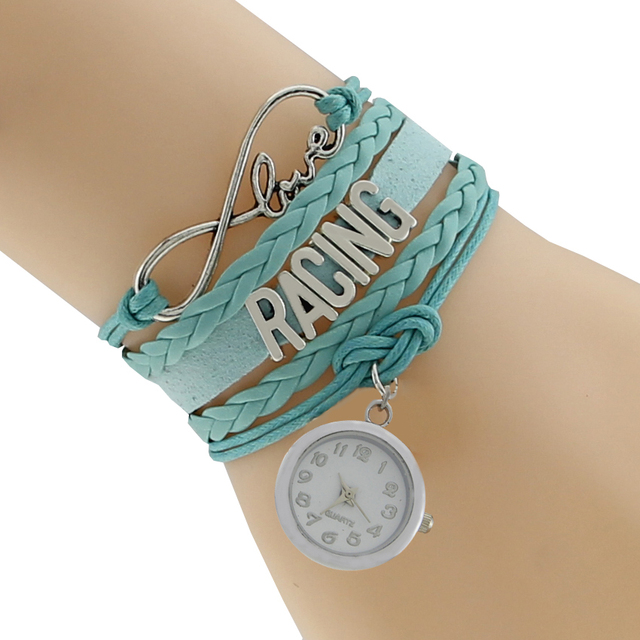 Infinite Love Charm Handmade Customized Message Racing Clock Bracelet