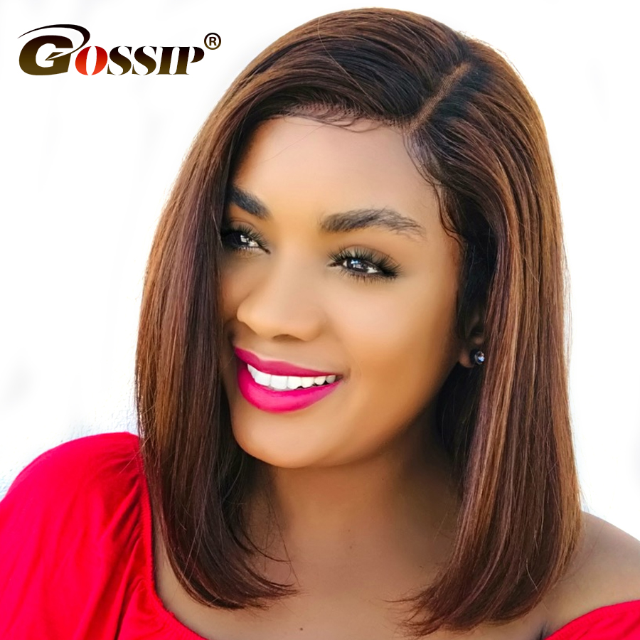 Gossip Indian Remy Hair Straight Short Wigs For Black Women 150 Density Lace Front Human Hair