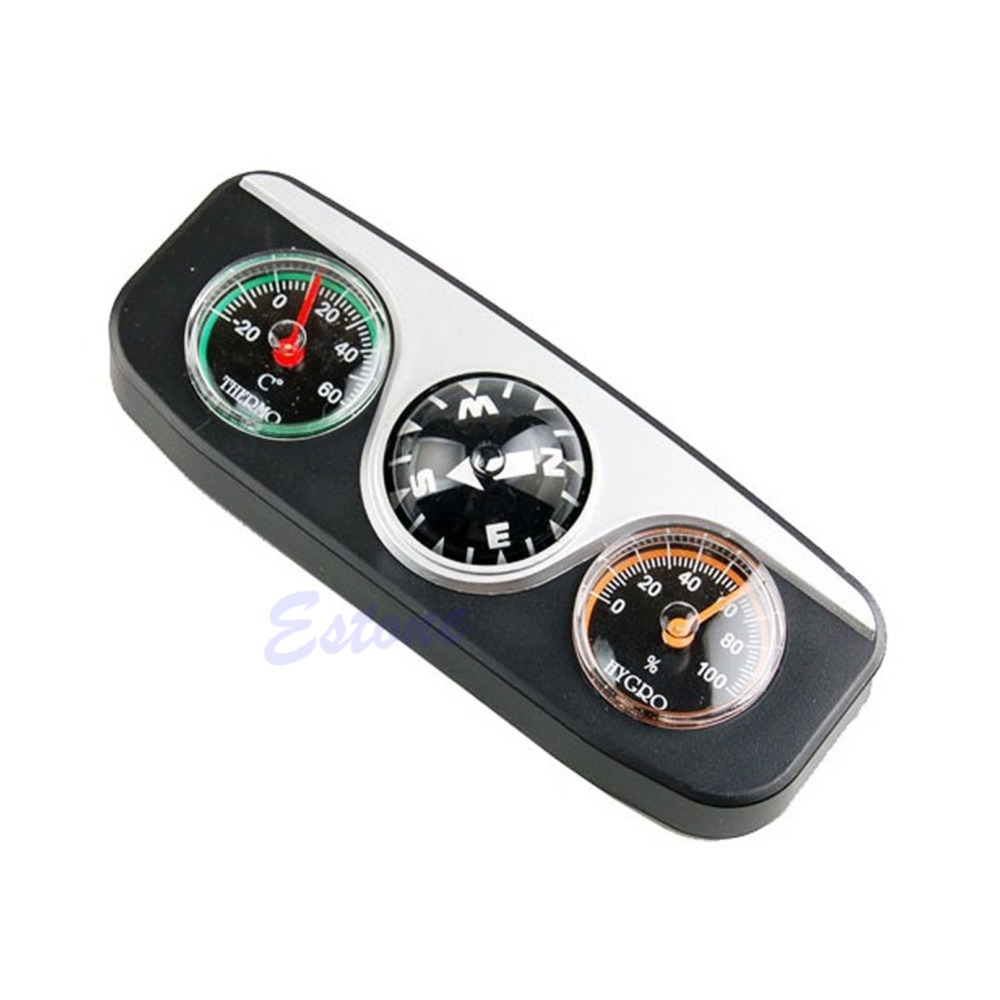 3 in 1 Car Vehicle Dashboard Thermometer Hygrometer hike Compass Navigation Ball