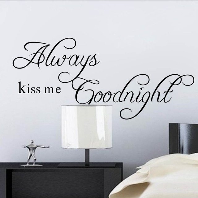 Always Kiss Me Goodnight Wall Stickers Quotes Home Decoration For Bedroom  Vinly Wall Decals Vintage Poster