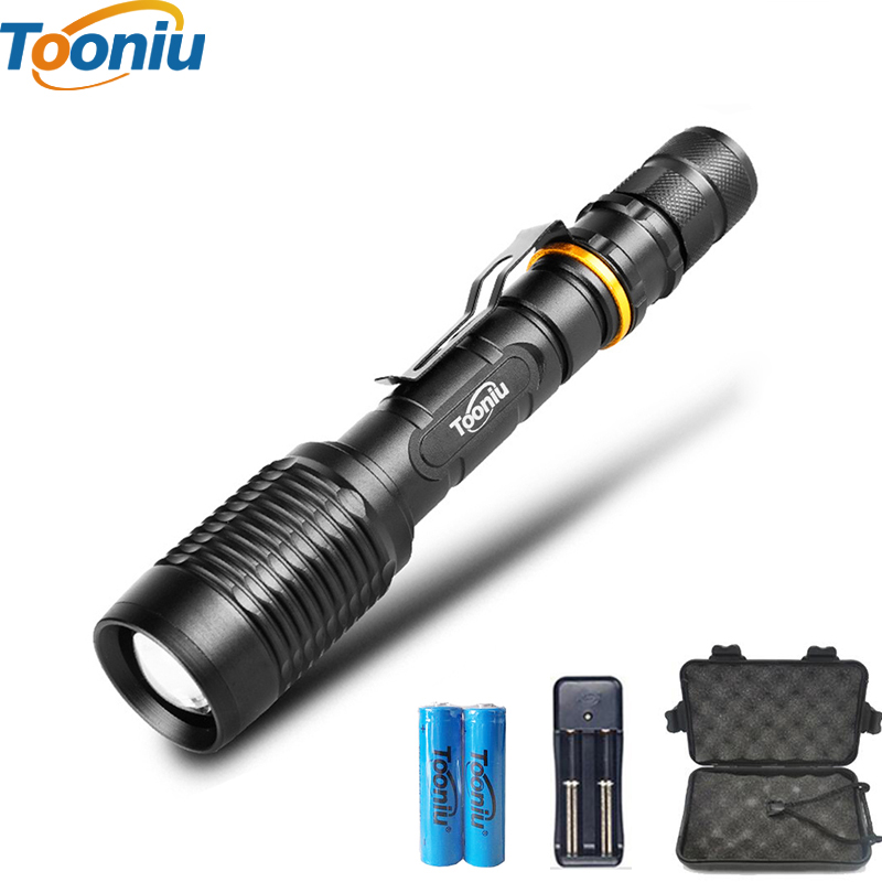 CREE XM-L T6/L2 LED Flashlight 5 Modes 8000 Lumens Zoomable LED Torch for 2*18650 Battery + Charger + Clip Portable flash light led l t6 flashlight 8000lumens torch 5modes tactical flashlight zoomable flash light with usb battery charger