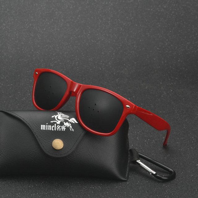 b1ef4c2d257 MINCL Black Pinhole Sunglasses Anti-fatigue Vision Care Microporous Glasses  Eye Exercise Eyesight Improve Anti-myopia Unisex LXL