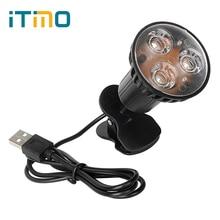 Super Bright 3 LED Clip On Book Light Portable Flexible USB Light For Laptop PC Notebook Desk Reading Lamp Home Lighting