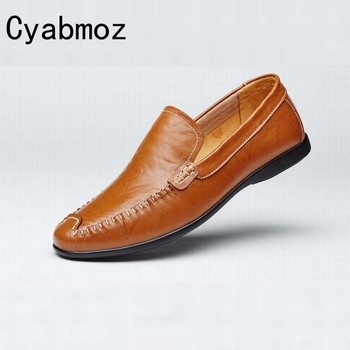 High Quality Male Genuine Leather with Flats Men Flat Casual Shoes Men Slip On Loafers Fashion Oxford Driving Shoe Man Moccasins