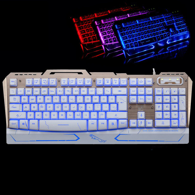 все цены на USB Wired Mechanical Feel 104 Keys Ergonomics E-sports Game Keyboard Fahsion Cool 3 Colors Backlit Metal Panel Gaming Keypad онлайн