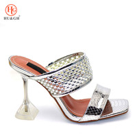 Sliver Color Italian Shoe without Bags High Quality African Shoe Sandals for Party In Women Nigerian Shoes Possible and Bag Set
