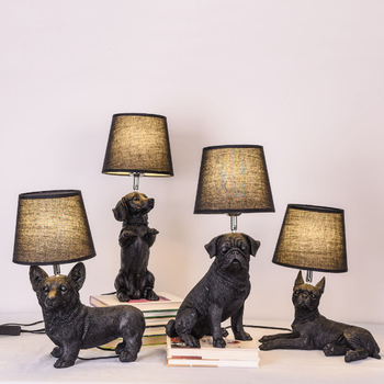 Creative art design black resin puppy table lamp personality for children's room bedside decoration LED animal dog lighting