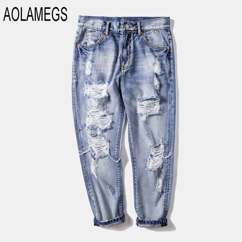 Aolamegs Men Jeans Fashion Distressed Ripped Hole Denim Trousers 2016 Streetwear Light Blue Hiphop Korean Style Destroyed Jeans ведро хозяйственное idea цвет аквамарин 3 л м 2428