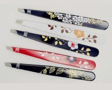 Fashion Hot Makeup tools flower coated stainless steel eyebrow tweezers Clip