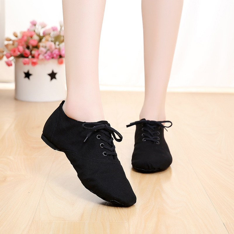2018 New Soft Cloth Dance Jazz Shoes Ballet Shoes for Men Women Children White Black Tan Red Sport Sneakers Lace Up