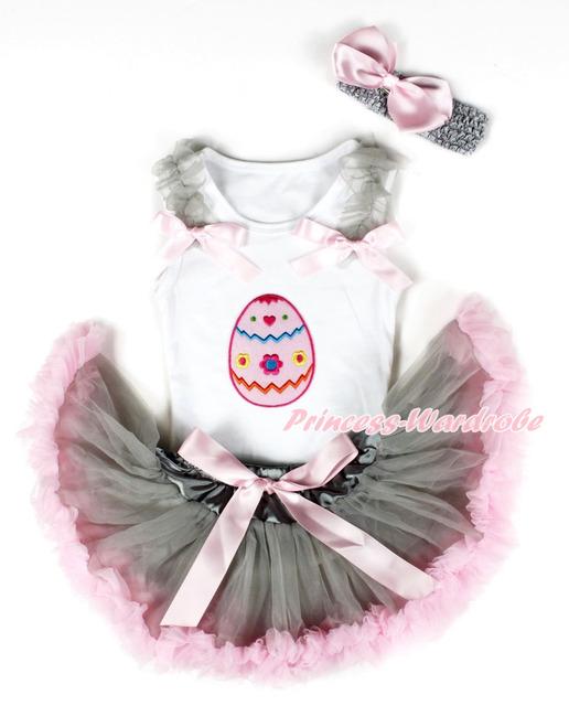 Blanco Baby pettitop, huevo de pascua, gris Ruffle Light Pink Bow gris rosa recién nacido pettiskirt, gris diadema rosa SilkBow MANG1322