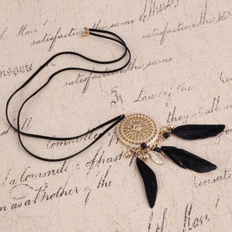 الأزياء قلادة ريشة بيان قلائد نساء مجوهرات جلدية طويلة جلد حبل قلادة الذهب الماسك ماكسي قلادة