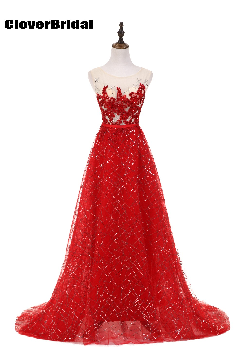 CloverBridal glitter luminous A-line sleeveless red junior   bridesmaid     dresses   long 2017 latest cheap nice illusion gown