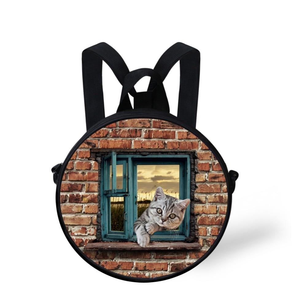 7fb12167886c FORUDESIGNS New Design 3D Cute Cats Printing Backpack For Girl Boy Cute Dog  Kids Round Kindergarten Mini Bags Casual Mochila