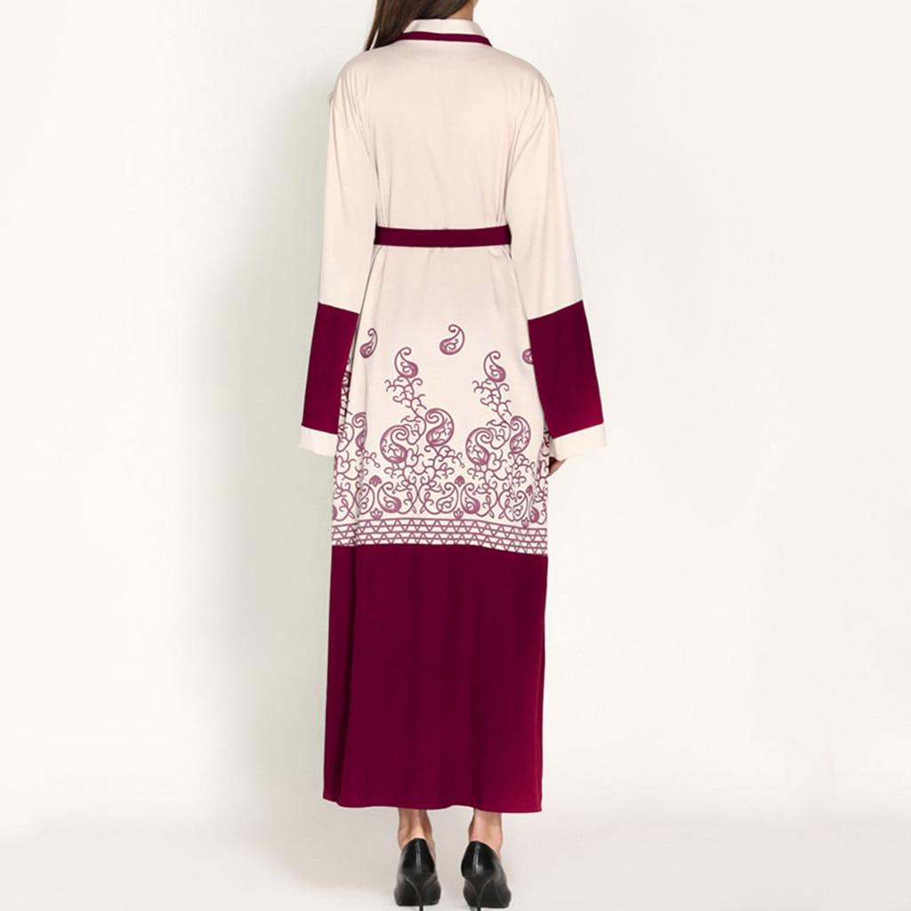 Abaya muslim abaya dress Women Muslim Maxi Dress Trumpet Sleeve Abaya Long Robe Gowns Tunic Belt Ramadan Arab Islamic dresses